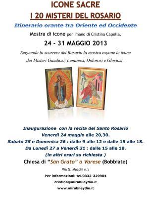 Itinerario orante tra Oriente ed Occidente Mostra di icone per  mano di Cristina Capella.
