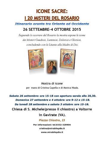 Prossima mostra di Icone Sacre dal 26 /9/15 al 4/10/15