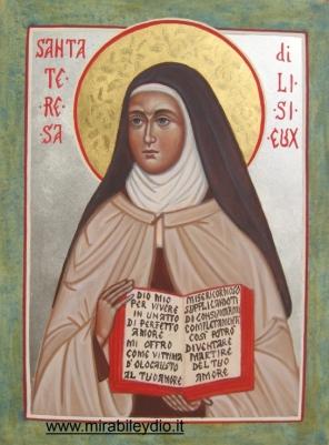 Icona di Santa Teresa di Lisieux per mano di Cristina Capella